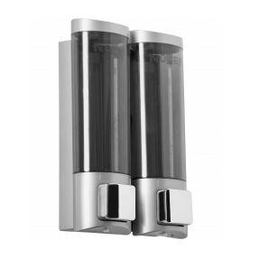 НОФЕР - Двоен диспенсър за сапун и душ-гел, ABS пластмаса, хром Nofer (03032.Т)