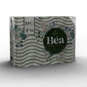 Беа Мираж - Тоал.Хартия- цел. с печат, аромат. 3 пл./125 къса (24 ролки/пакет) (24BAN20ACB)
