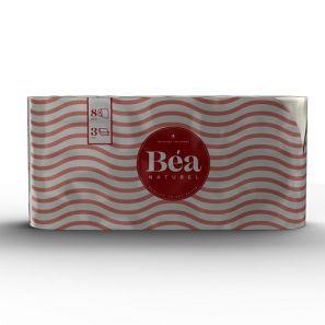 Беа Натурел - Тоал.Хартия- цел. бели. 3 пл./125 къса ( 8 ролки/пакет) (244AN201BU)
